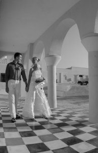 Black and white photo Jon and Kristin wedding in Greece